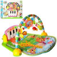 Розвиваючий музичний килимок для немовляти 90-60-40 см - піаніно, дуга, підвіски, PA318, Голубий