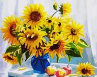 Картина за номерами 40x50 Соняшники в синій вазі, Rainbow Art (GX8692)