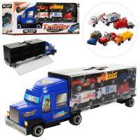 Трейлер MZ997D метал, 37см, контейнер-гараж, машинки 6шт