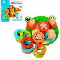 Дерев'яна іграшка сортер MD1253 Limo Toy Геометричний Жабка Монтессорі