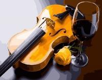 Картина за номерами Скрипка і келих 40х50 см Brushme GX27891