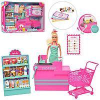 Лялька DEFA 8430-BF магазин, прилавок, продукти, візок