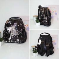 Чорний рюкзак з паєтками  24*23*13 см F-34