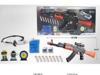 Дитячий ігровий автомат AK47-3, водяні кулі, м'які і софт-патрони., окуляри, мішень.