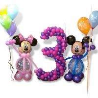 Композиція з кульок Міккі та МІнні Маус+ Цифра
