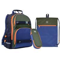 """Набір рюкзак + пенал + сумка для взуття """"Wonder"""", синьо-зелений, SET_WK21-702M-2"""