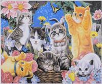 """Картина за номерами + Алмазна мозаїка 2в1 """"Кошенята"""", розмір 50х40см. YHDGJ75500"""